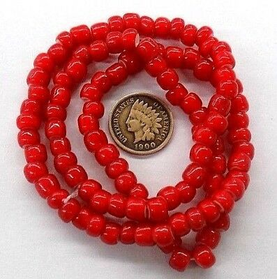 CHERRY White Heart Trade Beads  Red  { 100 Pcs}    L815 antique vintage style