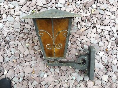 Vintage Cast Iron Cotswolds Outdoor Porch Carriage Coach Lantern Amber Glass