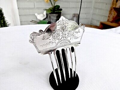 Large Fancy Antique Kennard & Jenks Bright Cut Sterling Silver Hair Comb Pic