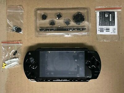 PSP 1000 1001 Fat Full Housing Shell Case Replacement Kit Black Original NEW!