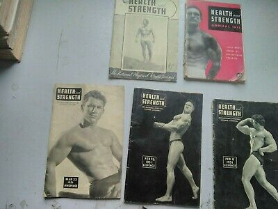 HEALTH AND STRENGTH MAGAZINES  (5)  FROM 1950,s  DATES BELOW