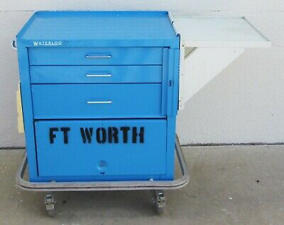 Waterloo Medical Hospital Blue Crash Cart 3-Drawer + Storage - All Lockable