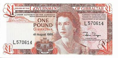 Gibraltar £1 Banknote 1988 Uncirculated One Pound