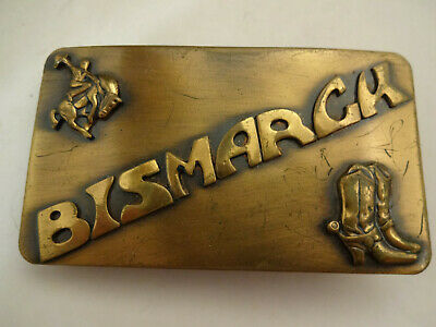 bbdca9f7159 Unusual Vintage Bismarck North Dakota Brass Belt Buckle Cowboy Bucking Horse