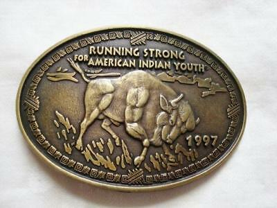 Running Strong for American Indian Youth Buffalo Bison Brass Belt Buckle 1997