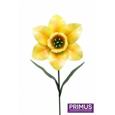 Primus Metal Daffodil Flower Stake Garden Ornament Sculpture Hand Painted Craft