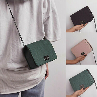 Fashion Women Lady Girl Shoulder Bag PU Leather Textured Casual Chain Small Bag