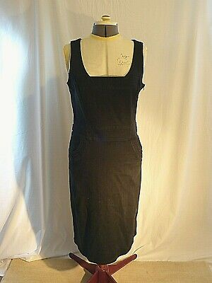 Noa Noa Pinafore dungaree Dress ink black stretch denim size L