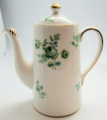 Royal Chelsea Bone China Coffeepot and Lid, Green Roses & Gold Trim, UK