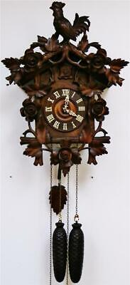 Antique Black Forest Heavily Carved Automaton 8Day Twin Weight Cuckoo Wall Clock