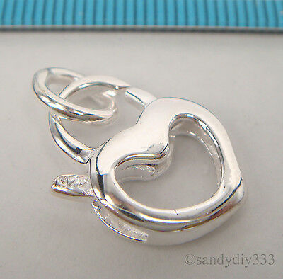 2x ITALIAN STERLING SILVER TRIGGER LOBSTER CLASP BEAD 11.3mm 4.3mm N277