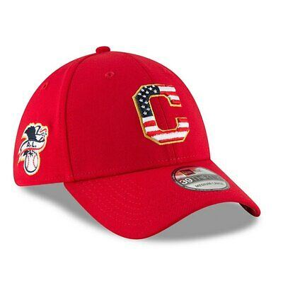 buy online c3e14 87329 Cleveland Indians Mlb July 4Th On Field New Era 39Thirty Red Flexfit Hat Cap  Nwt