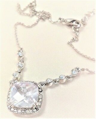 *NEW!* CZ CLEAR Cushion Cut Necklace, Silver Plate, 18-IN Plus 3-IN Extender