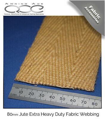 80mm Extra Wide Jute Heavy Duty Herringbone Webbing - Sold Per Metre