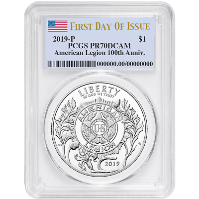 2019-P Proof $1 American Legion 100th Ann PCGS PR70DCAM FDOI Flag Label