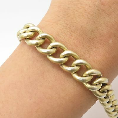 """925 Sterling Silver Gold Washed Antique Victorian Hollow Cable Link Bracelet 6"""""""