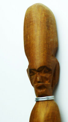 "Rare Old Antique 19C CARVED MAN's FACE on Folk Wooden Walking Stick  37 1/4""  H5"