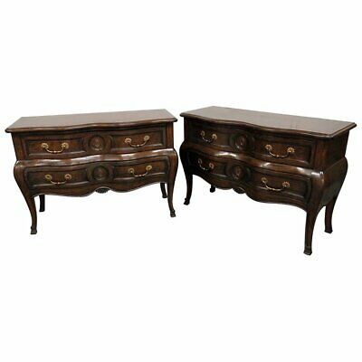 Beautiful Pair of Auffray Carved Walnut Louis XV Bombe Commodes Dressers Chests