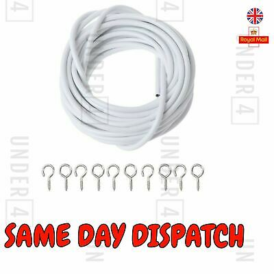 Net Curtain Wire White Window Cord Cable With 16 HOOKS & EYES NEW UK 2M, 3M, 4M