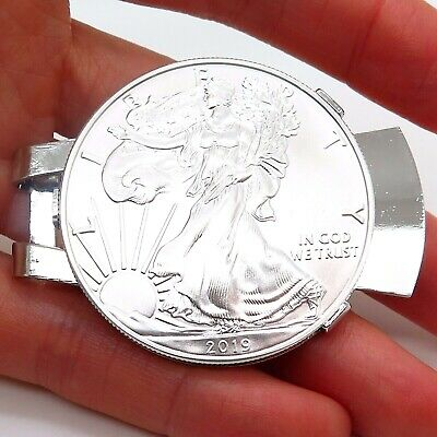 REAL Silver Eagle Dollar Coin Money Clip Random Years with Gift Box