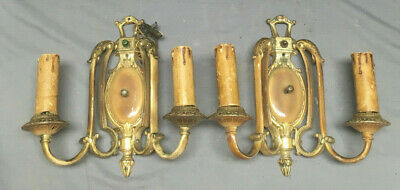Pair Antique Brass Sconce Wall Lights Empire Candelabra Fixtures VTG 101-19L
