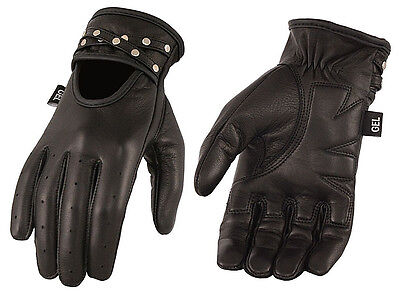 Ladies Studded Black Leather Riding Gloves Gel Palms Driving Motorcycle Biker