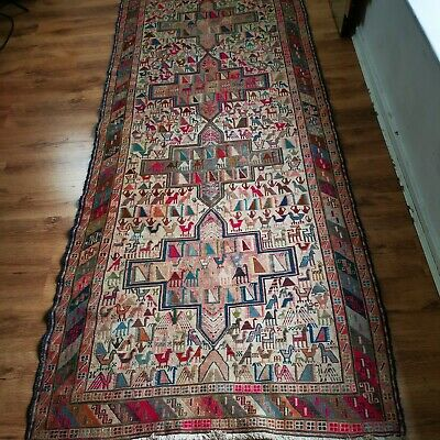 Vintage Middle Eastern Hand Knotted Wool Rug Runner 108in x 45in