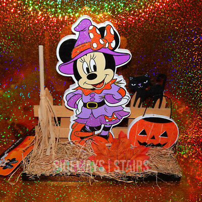 DISNEY WOODEN HALLOWEEN DECORATION Minnie Mouse Witch table decor black cat 8""