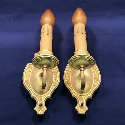 Pair of antique raw yellow brass candle wall sconces  19B