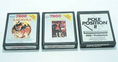 Lot of 3 Atari 7800 games - One on One, Karateka, Pole Position Two II - Tested