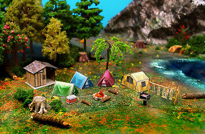 Camping Tent Fishs Grill Restroom & Fire Set N Scale Building DIY Cardstock Kit
