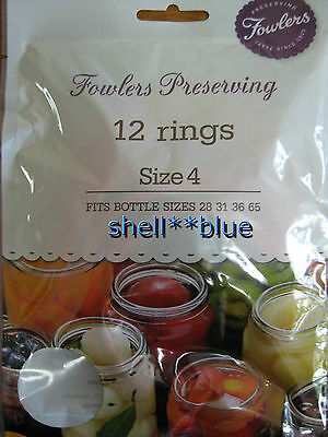 One Dozen Fowlers Vacola  Preserving Rings size 4  BRAND NEW