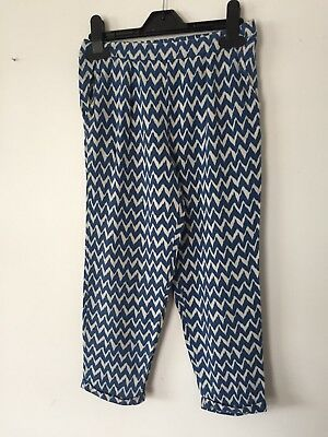 Next Girls Harem Pants Loose Fit Trousers Blue white 6 Yrs zigzag Summer Holiday