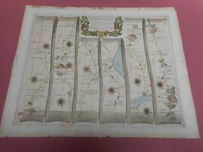 100% Original Large Barstable To Truro Road Map By John Ogilby C1679 Cornwall