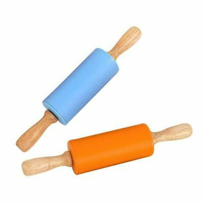 GKood Mini Rolling Pin, 2 Pack 9 Inch Silicone Rolling Pin for Kids Wooden Handl