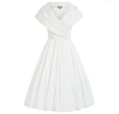 acbd6491c1fc7 Amber' Vintage 1940s Ivory Occasion Dress with Oversized Collar Size 12