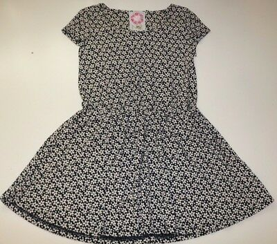 Next - White Black Ditsy Floral Cotton Short Sleeve Tunic Dress- Girls 11 Years