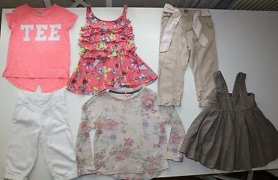 Next- 6 Items Bundle- Trousers Jumper Pinafore Dress Tunic Tops- Girls 2-3 Years
