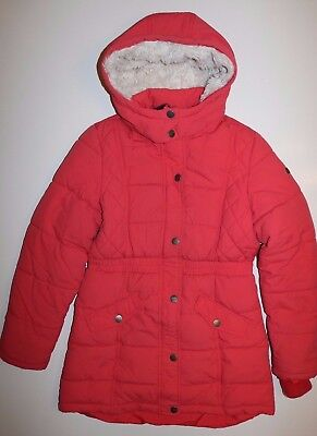 H&M- Coral Red Soft Thick Padded Hooded Zip Long Coat- Girls 13-14 Years