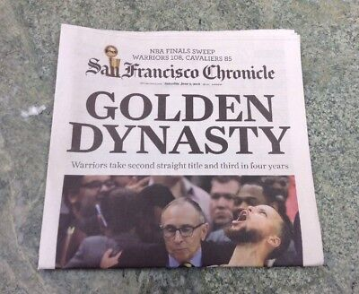 3e0f9d7c136 SF Chronicle Golden State Warriors NBA Finals GOLDEN DYNASTY Newspaper 2018