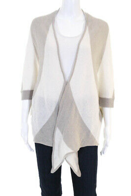 e888201ba6404 Minnie Rose Womens Open Striped Bat Wing Cardigan Beige Cashmere Size Small  XS