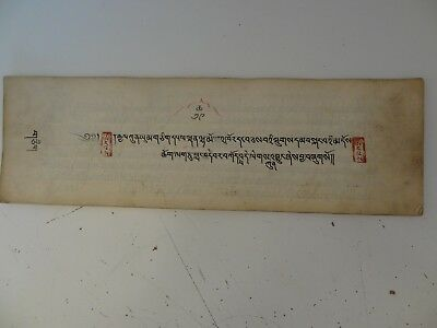 Antique Mongolian Tibetan Buddhist Handwritten Complete  Manuscript With Seal