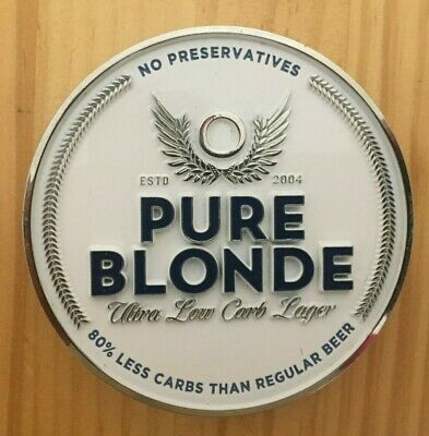 """Pure Blonde """"LOW CARB"""" Tap Top Badge, Decal, Heavy Metal"""
