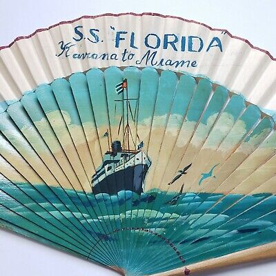 Antique Advertising Painted Wooden Fan SS Florida Havana to Miami Homemade VTG