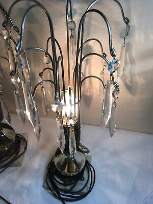 Antique Pair Of Glass, Bronze, Marble, Crystal Chandelier 'Rainfall' Table Lamps