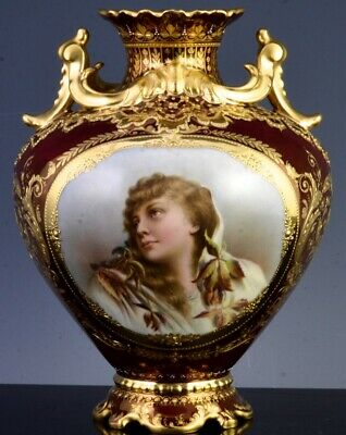 WONDERFUL c1890 FRENCH LIMOGES ROYAL VIENNA GOLD LUSTRE YOUNG GIRL PORTRAIT VASE