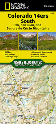 National Geographic Colorado 14ers SOUTH - Trails Illus Topo 2017 Map - #1303