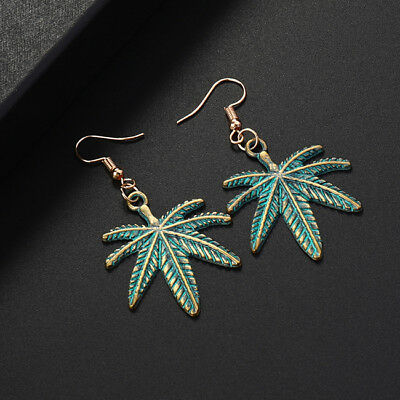 Bronze Stamped Big Maple Weed Leaf Leaves Hook Dangle Earrings Jewelry KV