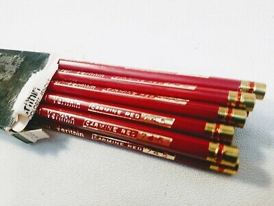 12 NEW Berol Verithin Eagle Colored Pencils Scarlet Red 745 Made in USA NIB