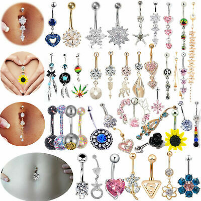 Belly Bars New Belly Bar Crystal Dangly Reverse Button Rings Top Drop Navel